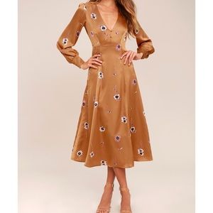 ASTR The Label Light Brown Floral Print Midi